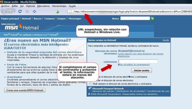 Imagen de un hackeo en una página similar a la de Hotmail