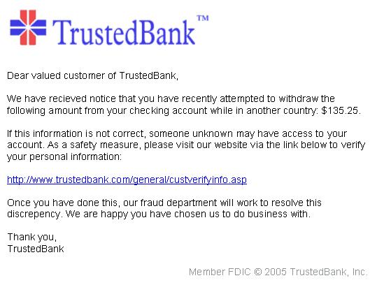 Imagen de phishing simulando ser un Banco importante